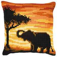 Sunset Elephant - Large Holed Tapestry Cushion Kit/Printed Chunky Cross Stitch
