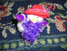 Victorian Snow woman Snowman in red head purple boa plush Christmas ornament