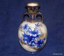 Antique Royal Doulton Burslem Ivory Blue & Gold Floral Two Handled Vase