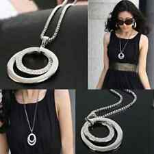 New Style Women Double Circle Crystal Rhinestone Pendant Long Chain Necklaces N1