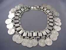 FABULOUS Vintage Silver BOOKCHAIN Collar Necklace COIN Motif Fringe Charms