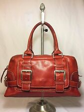 MICHAEL KORS Red Leather Satchel Buckle Flap Shopper Tote Purse Shoulder Bag