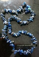 """Lapis lazuli natural stone chip beads small-med size 16"""" str approximately bs069"""