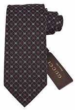 NEW Gucci Men's 386489 Black Pink Grey Silk Interlocking GG Neck Tie