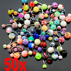50X Mix Assorted PREMIUM Belly Navel Barbells Bar Rings BODY PIERCING JEWELRY DT