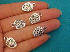 10 sugar skull beads pendants charms tibetan silver antique wholesale UK bulk