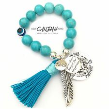 Saint Christopher Evil Eye Bracelet With Angel Feathers Faith Happiness Charms