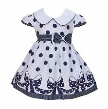 Cinda Baby Girls White and Blue Dotted Bow Summer Dress 12-18 Months