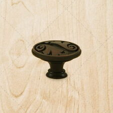 "Cabinet Hardware Oval Knobs ku097 Brushed Oil Rubbed Bronze pulls 1-9/16"" diam"