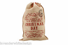 "Large Vintage Style ""Do Not Open until Christmas Day"" Hessian Santa Sack"