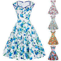 UK VINTAGE RETRO 50's STYLE SWING PINUP FLORAL DRESS PLUS SIZE EVENING GOWN S-XL