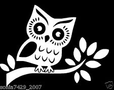 Cute Owl White vinyl sticker decal car truck JDM SUV wall hoot wise cute