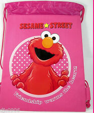 SESAME STREET ELMO FRIENDSHIP WARMS THE HEART PINK DRAWSTRING BAG BACKPACK-NEW