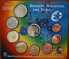 Spain 2010 Mint Set  9 BU Prooflike Coins 1 Euro Cents - 2 Euros