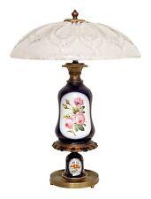 Herrliche Jugendstil Porzellan Tischleuchte Schreibtischlampe Unikat