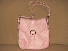 COACH Pink Leather Soho Flap Shoulder Handbag Style 9480 Medium Signature Lining
