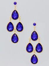 Royal Blue Faceted Glass Teardrop Bezel Stud Gold Tone Chandelier Earrings