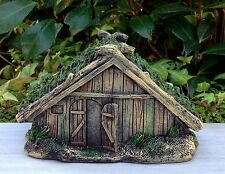 Miniature Dollhouse FAIRY GARDEN ~ VIKING Village Wood Look House w Grass Roof