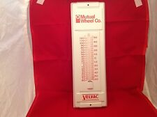 Vintage  Mutual Wheel Velvac Metal Thermometer Working Condition Advertising