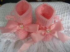 PRETTY BABY HAND KNITTED BOOTEE / BOOT /SHOE /SLIPPER RIBBON PINK  3/6  6/9