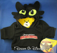 NEW TOOTHLESS DRAGON BLACK HOODIE SHIRT BUILD-A-BEAR DREAMWORKS TEDDY CLOTHES