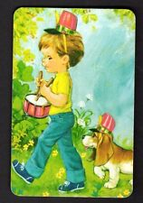 70's Vintage Swap Card - Little Boy Playing Drum & Puppy (BLANK BACK)