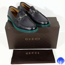 $630 NEW MEN'S GUCCI GRAY LEATHER SHOES LOAFERS MOCCASINS 9 9.5 43 HORSEBIT NIB