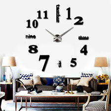 New Luxury Large Home Decor DIY 3D Wall Clock Watches Art Modern Metal Hand Big
