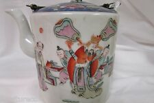 Antique 19thC Chinese Porcelain TEAPOT Tongzhi mark Figural painting Blue top