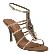 Nine West Sandals Heels Leather Bronze Size 9B Jeweled Embellished Gladiator NIB