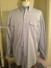 WILLIS & GEIGER Blue Long Sleeve Oxford Safari/Hunting Field Shirt MENS SMALL