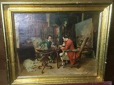 19th Century J. Lepage (French) Impressionist Oil on Canvas - The Chess Match
