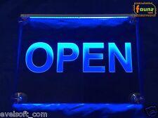"""LED Leuchtschild """"OPEN"""" blau opak Geschäft Lokal Gaststätte Laden Café ©faunz"""