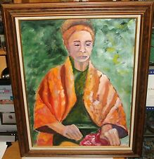 ASIAN WOMAN ORIGINAL OIL ON CANVAS PAINTING SIGNED BY ARTIST YAR