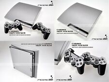Silver Carbon Fiber Full Body Skin Sticker for PS3 Slim and 2 controller skins