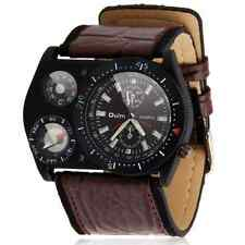 New Fashion Mens Sport Car Military Army Leather Sports Quartz Wrist Watch Brown