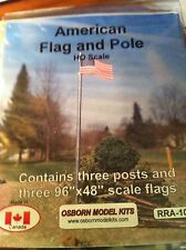Osborn Models 1094 HO Scale American Flag and Pole Package of 3