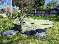 Deluxe Double Camping Swag Canvas Tent Aluminum Poles Hiking Bag Celadon-JETCSDC