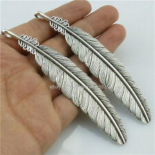 14065*5PCS Large Alloy Vintage Silver Tone Feather Bookmark Pendant Charms