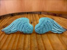 1 PAIR BLUE ANGEL WINGS DRAWER CABINET PULLS KNOB HANDLE vintage shabby chic