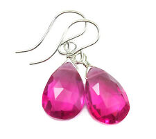 Hot Pink Sapphire Earrings sterling silver Faceted Pear Simple Sim Drops Simple