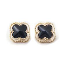 Boucles d`Oreilles Clous Trèfle Noir Mignon Original Soirée Mariage Cadeau NN 3