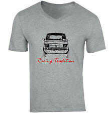 POLISH MALUCH RED FIAT 126P RACING TRADITION P - NEW COTTON GREY V-NECK TSHIRT