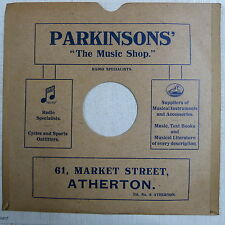 "78rpm 12"" card gramophone record sleeve PARKINSONS , ATHERTON"