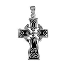 MEN'S QUALITY MEDIUM CELTIC CROSS PENDANT - 925 STERLING SILVER