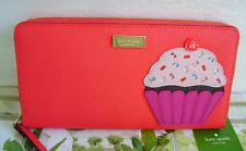 New Kate Spade NY Leather Take The Cake Neda Zip Around Clutch Wallet WLRU2738