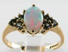 ENGLISH 9K 9CT YELLOW GOLD AUSTRALIAN OPAL & GREEN TOURMALINE RING FREE RESIZE