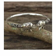 Womens Handcrafted Sterling Silver 925 Proud Elephant Open Cuff Jewelry Bracelet