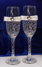 Hand painted and decorated Wedding Champagne Flute/Glass Bride,Groom SET OF 2