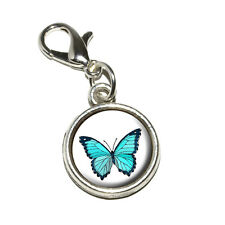 Butterfly - Antiqued Bracelet Pendant Zipper Pull Charm with Lobster Clasp